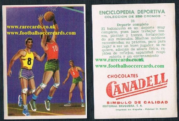 1960s Spanish basketball trade card by Canadell